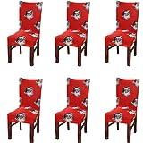 6 Stück Weihnachten Stuhlhussen,Elastische Moderne Stuhl-Abdeckung