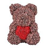 LVYIMAO - Orsetto di rosa artificiale, in polietilene, idea regalo per compleanno, matrimonio, festa...
