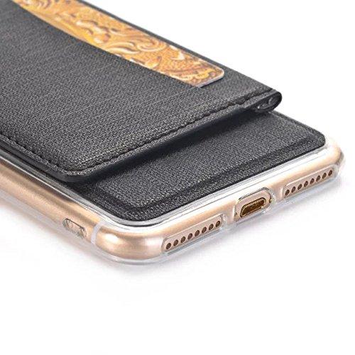 iPhone Case Cover Solid Color Cowboy Jeans Textur Muster Hard Back Cover mit Standbörse Design für Apple IPhone 7 Plus ( Color : Brown , Size : IPhone 7 Plus ) Black