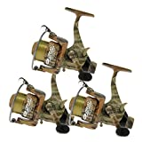 3 x Camo40 Carp Runner 3BB Fishing Reel with 12lb Line + Spare Spool NGT