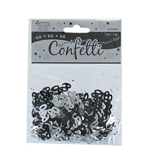 60. Geburtstag Confetti Tabelle Dezember - Schwarz / Silber (60 Tabelle Dekorationen)