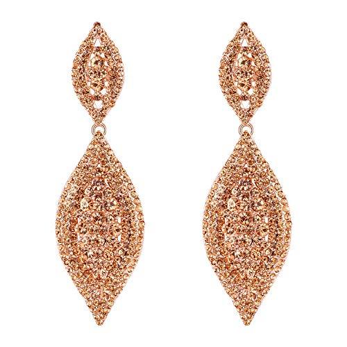 EVER FAITH Damen Kristall Hochzeit Braut 2 Blatt Tropfen Ohrringe Champagner Farbe Rose Gold-Ton