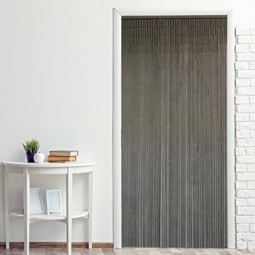 Power-Preise24 Bambus Türvorhang Uni 90 x 200 cm eleganter Raumteiler mit 65 Strängen aus Bambus Bambusvorhang zum Aufhängen, Motiv:Taupe