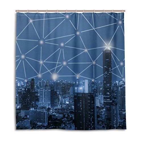 jstel Decor Duschvorhang 3D Blau Ton City Muster Druck 100% Polyester Stoff 167,6x 182,9cm für Home Badezimmer Deko Dusche Bad Vorhänge mit Kunststoff Haken