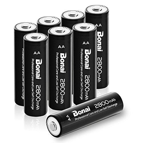 Bonai alta capacità Pile Ricaricabili AA Batterie 2800mAh Ni-MH 1200 cicli (confezione da 8)
