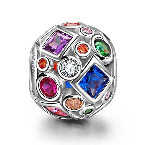 NINAQUEEN Charms für Pandora Weihnacht Geschenke Geschenk für Frauen zu Weihnachten Bunter Edelstein Silber 925 Zirkonia Perlen mit Schmuckkasten