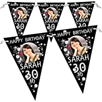 Personalised Black & Silver Glitz Birthday Party PHOTO Flag Banner Bunting N70-10 Flags inc ribbon 18th 21st 30th 40th 50th ANY AGE!