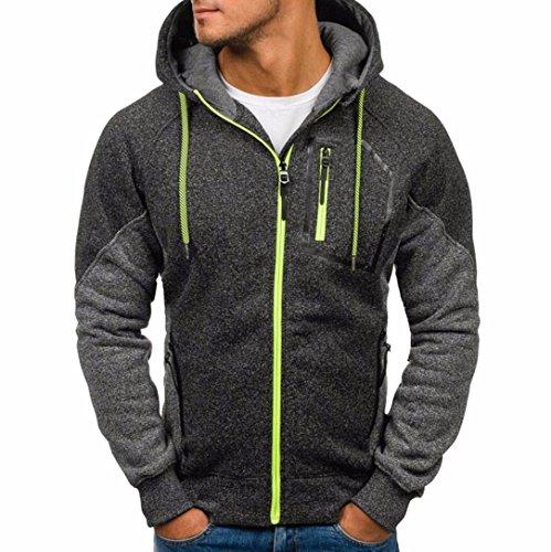 DRESS_start Neue MäNner Outwear Pullover Winter Hoodie Warmer Mantel Jacke Schlank Mit Kapuze Sweatshirt College Jacke Damen Jacke Herren T-Shirt Jack Camouflage Jacke (2XL, Tief grau) (College Grau Shirt)