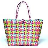 MULTICOLOUR XXL Trend Tasche Korbtasche Flechttasche Flechtkorb Strandtasche Strandkorb Shopper Big Bag geflochten Kunststoff bunt