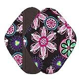 Ularma Reusable Charcoal Bamboo Mama Pads/ Menstrual Pads Cloth/ Sanitary Napkins Pad -Night time protection (M, Black)