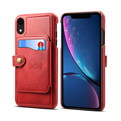 Leder-Schutzhülle für Apple iPhone XR 6,1 Zoll 2018, Kartenfächer, Standfunktion, hochwertig, schlank, weich, rot