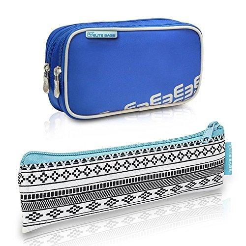 Diabetiker Tasche und Etui | Polyester und Kohlefaser | Blau und Indie Muster| Dia's und Insulin´s | Elite Bags -