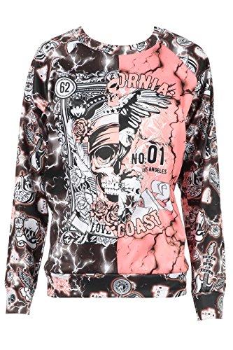 Damen Mädchen Schädel Tattoo Motorrad Druck 50/50 Sweatshirt EUR Größe 34-44 (Groß (EUR 42-44), Koralle) (Motorrad-kinder Sweatshirt)