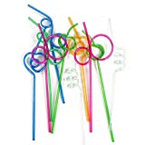 Shsyue 50PCS Colorful Straw Crazy Curly loop Coloured cannucce per festa di compleanno bar