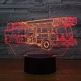 Optische Täuschung 3D Feuerwehr Auto Nacht Licht 7 Farben Andern Sich USB Adapter Touch Schalter Dekor Lampe LED Lampe Tisch Kinder Geburtstag Weihnachten Geschenk