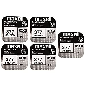 5 x Maxell SR626SW SR626 AG4 377 1.55v Watch Batteries by Maxell