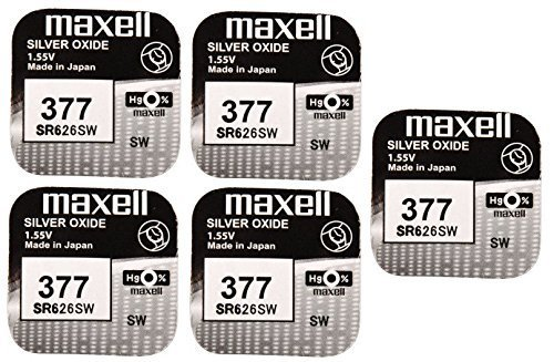 5 x Maxell SR626SW SR626 AG4 377 1.55v Watch Batteries by Maxell 377 Silver Oxide Watch Battery