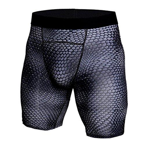 GreatestPAK Herren Snake Skin Gedruckt Atmungsaktiv Schnell Trocknend Sport Shorts Gym Kurze Hosen Workout Fitness Sport Shorts,Schwarz,XXL