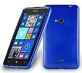 Cadorabo DE-104800 Nokia Lumia 625 Handyhülle aus TPU Silikon in gebürsteter Edelstahloptik (Brushed) Blau