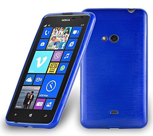 Preisvergleich Produktbild Cadorabo DE-104800 Nokia Lumia 625 Handyhülle aus TPU Silikon in gebürsteter Edelstahloptik (Brushed) Blau