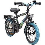 BIKESTAR Premium Sicherheits Kinderfahrrad 12 Zoll für Mädchen und Jungen ab 3-4 Jahre ★ 12er Kinderrad Modern ★ Fahrrad für Kinder Schwarz & Weiss