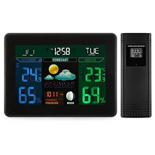 MWW Wetterstation mit Außensensor Funk Funkwetterstation mit Hochauflösender Farbanzeige, Alarme, Wettervorhersage, Temperaturwarnungen, Luftfeuchtigkeitsmonitor