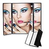 Edota Espejo de Maquillaje, LED Plegable Espejo Cosmético / Espejo de Afeitar / con 8 LEDs Espejo de viajes 3 página/ Portatil Foldable Espejo Cosmético para Maquillaje / Espejo de Maquillaje de Bolso con Luces (Negro)