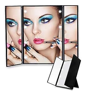 make up spiegel edota mit 8 led beleuchtung tri fold kosmetisches das nat rliche 180 grad. Black Bedroom Furniture Sets. Home Design Ideas
