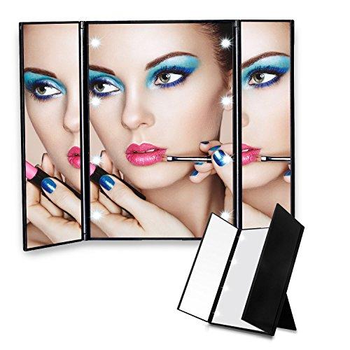 Make up Spiegel Edota mit 8 LED Beleuchtung Tri-Fold kosmetisches Das Natürliche - 180 - Grad - Drehung Faltbaren Desktop Taschenspiegel Kosmetik Schminkspiegel Badspiegel Inklusive Batterie