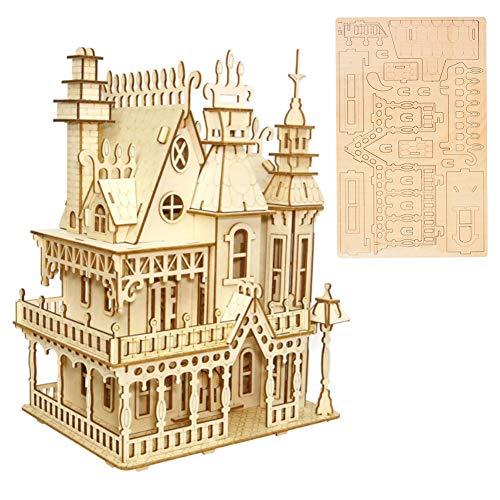 a Puzzle DIY Desktop Holzburg Haus Gebäude Spielzeug Pädagogisches Handwerk Puzzle Modell Geschenk für Kinder Erwachsene ()