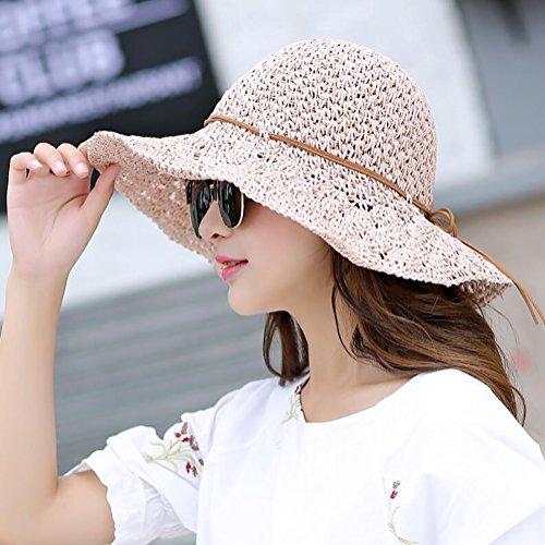 HWTYM Chapeau de paille Été Vacances en plage pour les femmes Voyage Chapeau en paille Grand chapeau de paille pliant en plein air ( Couleur : 5* ) 4*