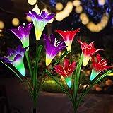 Solarleuchte Garten, 2Pcs Anti-Aging Außen Solarleuchten Lilie Blume mit Multi Farbwechsel LED Lampen, Lange Andauern Schöne Dekoration Garten Lampen Lilie Solarlichter für Terrasse/Rasen/Gehweg