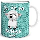 Tasse Schaf mit Spruch Lustig Ich Seh Schaf, Geschenk Zum Geburtstag für Frauen Freundin Kollegin Arbeit Büro, Weiß Türkis, 300 ml