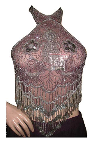 Kostüm Über Bauchtanz Den - Dancer World Ltd Petite Neckholder Top Bauchtanz Kostüm Sequin Net Mesh Tops (Pflaume Silber, UK 12/14)