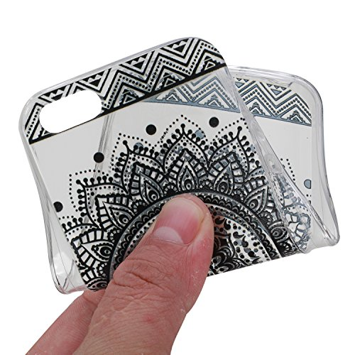 Cover für iPhone SE/5S/5 Silicone Transparent,Custodia per für iPhone SE Fiore Modello,BtDuck Originale Ultra Morbido Sottile Silicone Trasparente TPU Silicone Clear Case Custodia Cover Anti-Scratch B Mandala Nera