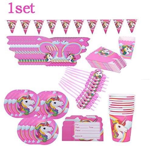 AMOYER 1Set Mask Teller Tasse Oder Becher Popcorn Box-Einladungs-Karte Pennant Kit Mit Einhorn-Muster-Partei-Dekoration-Geburtstags-Party Verkleiden Props