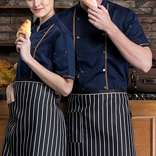 F Fityle Kurzarm Kochjacke Bäckerjacke Chef Jacke Restaurant Koch Arbeitskleidung Gastro Kochbekleidung für Männer Frauen - Schwarz, L - 7