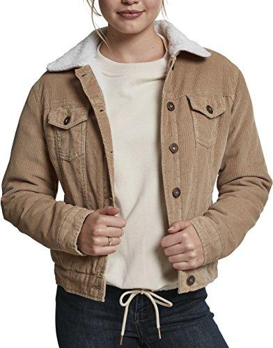 Urban Classics Damen Jacke Ladies Sherpa Cordury Jacket, Mehrfarbig (Sand/Offwhite 01139), Medium (Fell Cord)