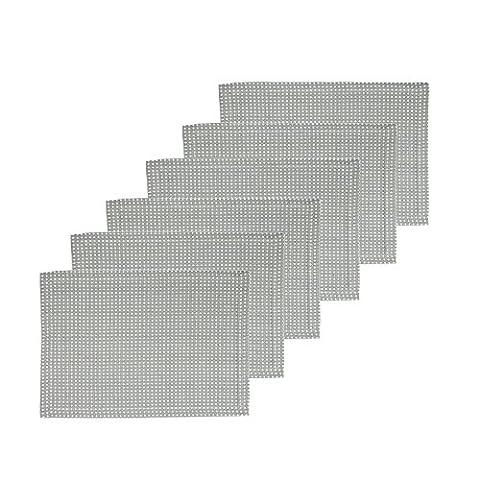 Icrafts Lot de 6sets de table Couleur classique Gris pur 100% coton Sets de table de cuisine salle à manger Essentials lavable en machine Utilisation quotidienne (33x 48) cm