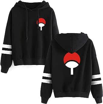 Haosheng Uomo Naruto Felpe Uchiha Clan Sweatshirt Anime Giapponesi Fans Top Hoodie(L)