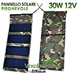 EurSolar Pannello Solare Pieghevole 30W 12V Caricatore solare portatile Impermeabile Richiudibile ad alte prestazioni per iPhone iPad Camper Auto
