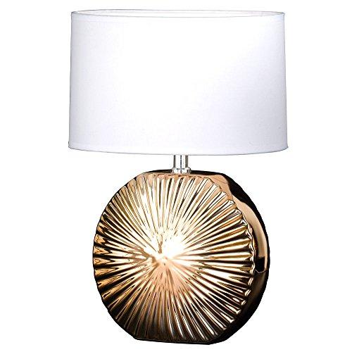 Keramik Tisch Lampe Wohn Zimmer Lese Schalter Stoff Strahler weiß Leuchte gold Honsel Leuchten 59271 (Keramik-keramik-tisch-lampe)