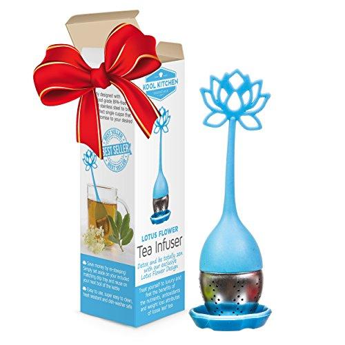 Infuseur à thé avec poignée longue pour thé en feuilles de fleur de lotus - La meilleure passoire pour tisanes, thés pour maigrir, thés détox et thés verts