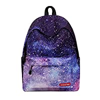 WAWJ Casual Flower Geometric Galaxy Pattern School Bag Waterproof Women