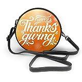 Happy Thanksgiving, bella iscrizione da donna in pelle PU con cerniera rotonda a tracolla, borsa a tracolla per lavoro, viaggi, incontri personalizzati