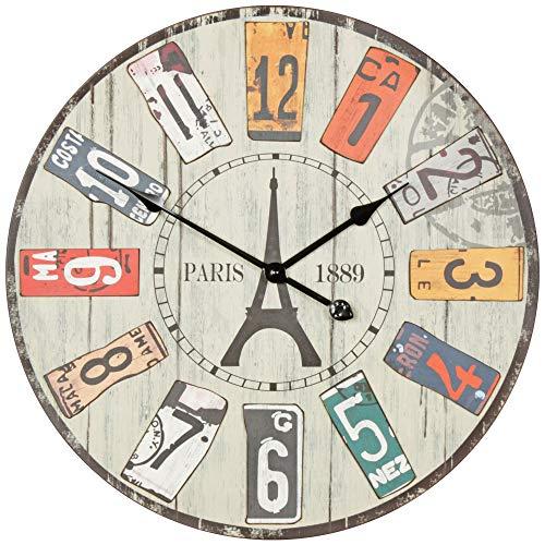 Wohnling Horloge Murale décorative Vintage XXL Ø 60 cm Paris – Mélange de matériaux en Bois – Grande Horloge Rustique – Design : Montre de Cuisine Salon