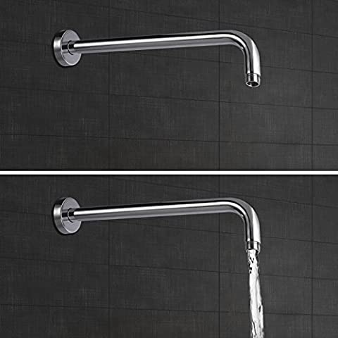 ARTBATH Long Shower Arm Extension 40cm Solid Brass Fixed Shower Arm with Flange Wall Mounted Polished Chrome 15.7
