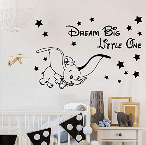 Tatuajes de pared de vinilo Fly Dumbo Dream Big Little One Etiqueta de La Pared Lindo Elefante Poster Mural Niños Habitación Del Bebé Decoración 57X85 cm