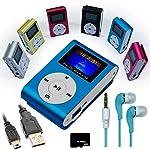 Mini reproductor MP3 Azul con FM + Auriculares + Cable Mini USB + Tarjeta Micro SD 8GB