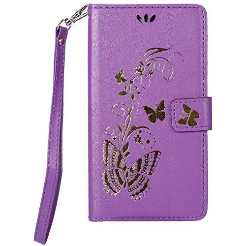 ISAKEN Kompatibel mit Galaxy J7 2016 Hülle, PU Leder Flip Cover Brieftasche Ledertasche Handyhülle Tasche Case Schutzhülle mit Handschlaufe Strap für Samsung Galaxy J7 2016 - Gold Schmetterling Lila
